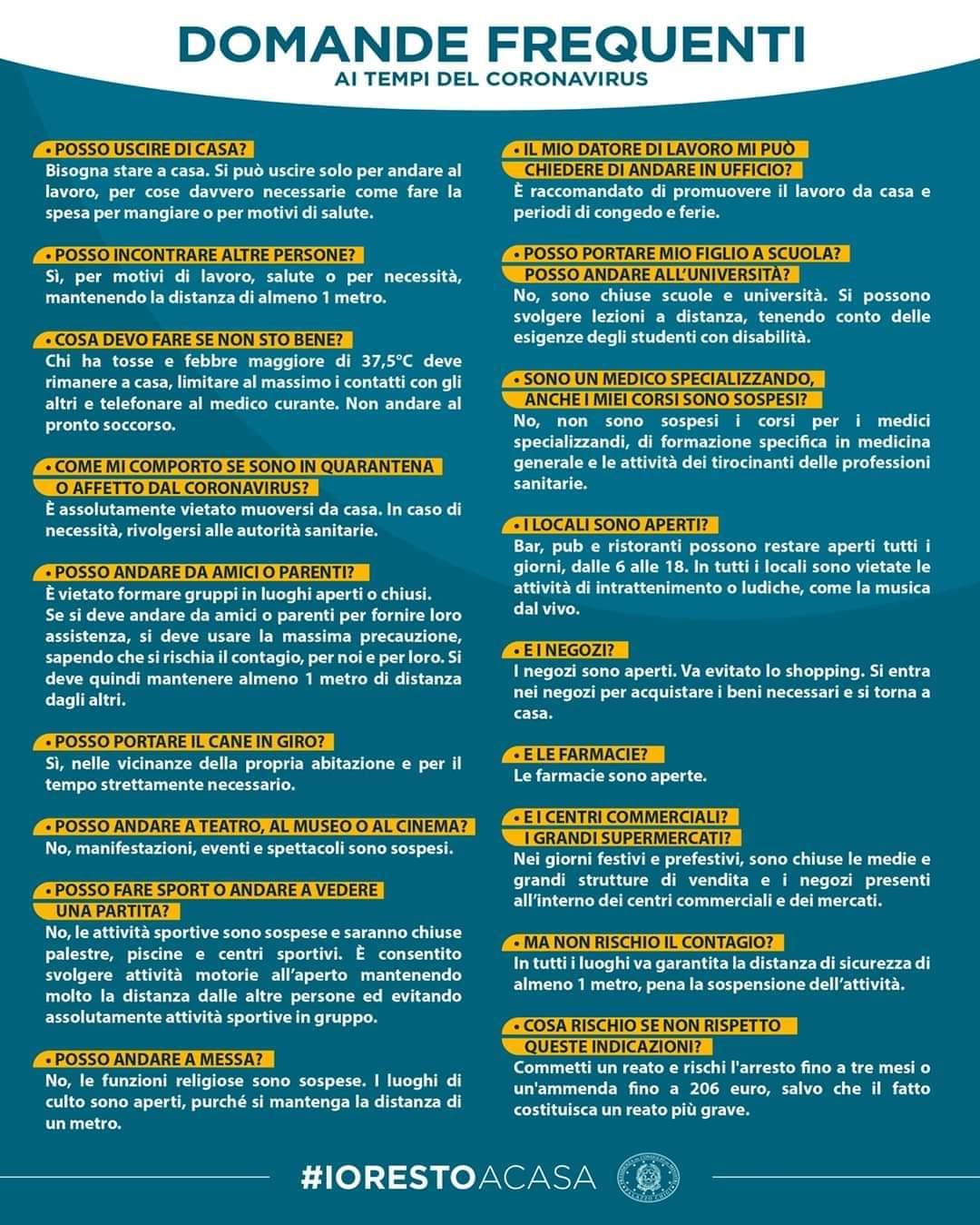 Regole per evitare la diffusione del coronavirus covid-19