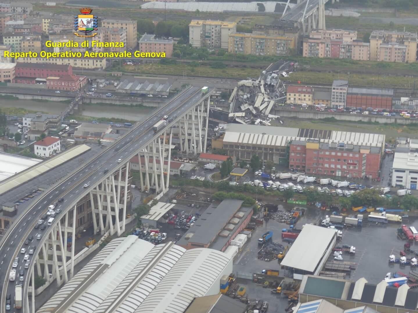 Visuale del ponte Morandi di Genova